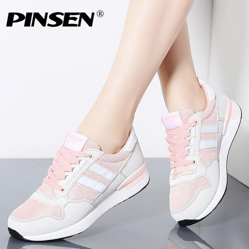 214bc5ecb3d PINSEN 2019 Mode Sneakers Femmes Nouveau Printemps Casual Chaussures Panier  Femelle Plat Chaussures Femme Dentelle-up ...