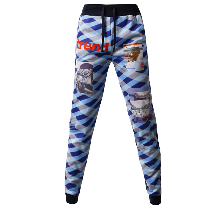 T-BIRD New Arrived 2018 Brand Casual Joggers 3D Color Plaid Compression Pants Men Cotton Trousers Calabasas Sweatpants Mens