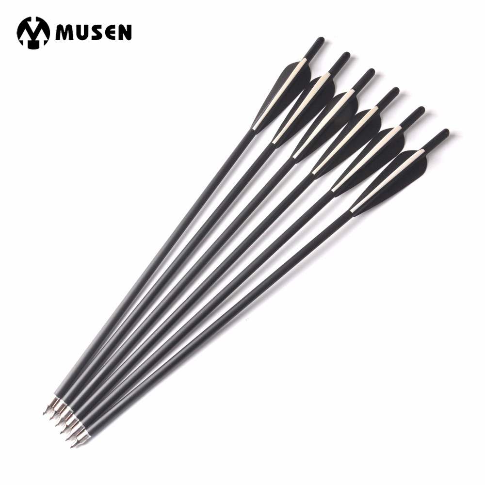 17/20 Inches 6/12/24Pcs Crossbow Carbon Arrow Length OD 8.8 Mm With 2 Black 1 White Feather For Archery Hunting Shooting