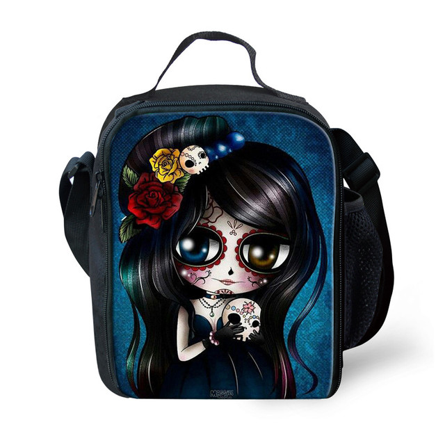 FORUDESIGNS 2017 Cute Lunch Box Bags for Women,Cool Skull Print Lunch bag for Women Insulated Adult Lunch Box lancheira termica