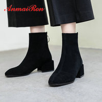 ANMAIRON 2019 Women Boots Kid Suede Round Toe Winter Boots Women Zip Square Heel New Ankle Boots Luxury Shoes Women Size 34 39