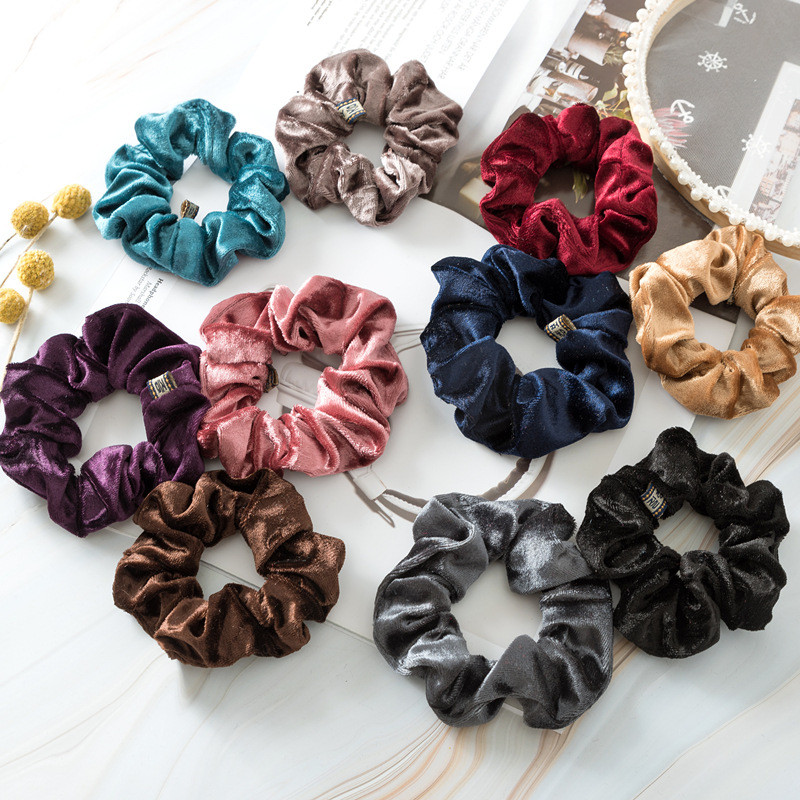 Luxury Elastic Hair Bands Soft Velvet Hair Scrunchie Ponytail Donut Grip Loop Holder Stretchy Hair Band Women Hair Accessories
