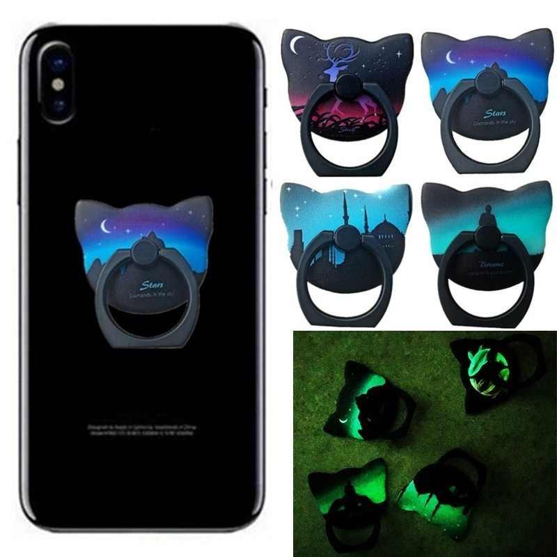 ユニバーサル電話ホルダーフィンガーグリップ漫画猫 iphone サムスン S8 9 プラスアームスマートフォンリングホルダー Coque バックカバー