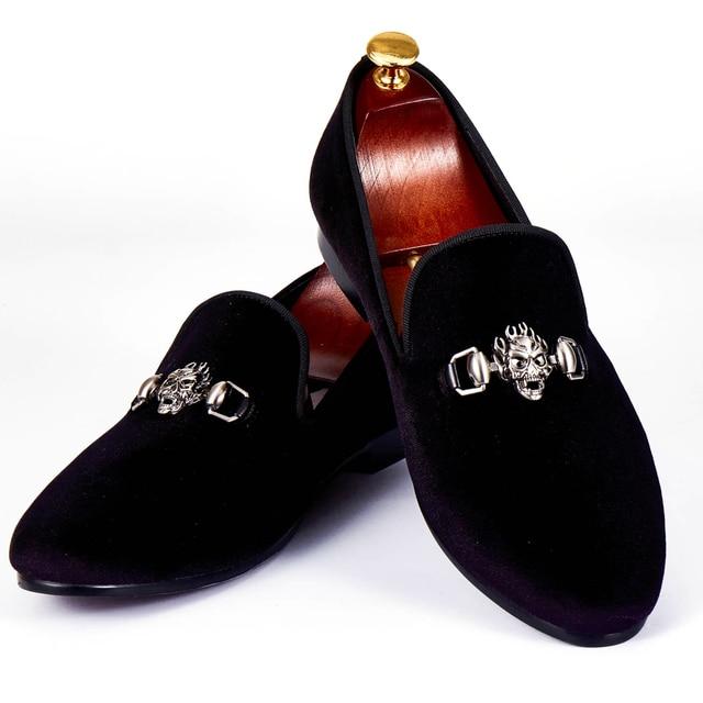 Harpelunde Mens Dress Shoes Skull Buckle Flat Shoes Black Velvet