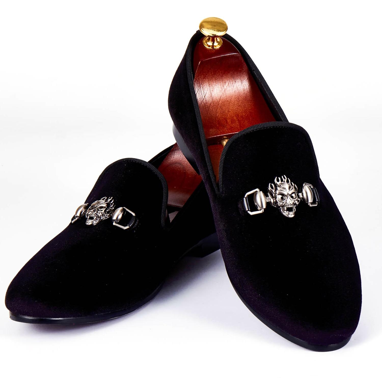 Harpelunde Sepatu Pria Busana Tengkorak Gesper Warna Hitam Beludru Sandal Nyaman Pantofel Ukuran 6 14 Di Formal Dari Aliexpresscom Alibaba