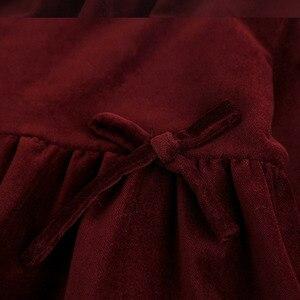 Image 4 - Çocuk kız bahar modelleri pamuk kadife yay kız elbise çocuk uzun kollu ahşap kulak yaka sonbahar bebek kız çocuklar Tops