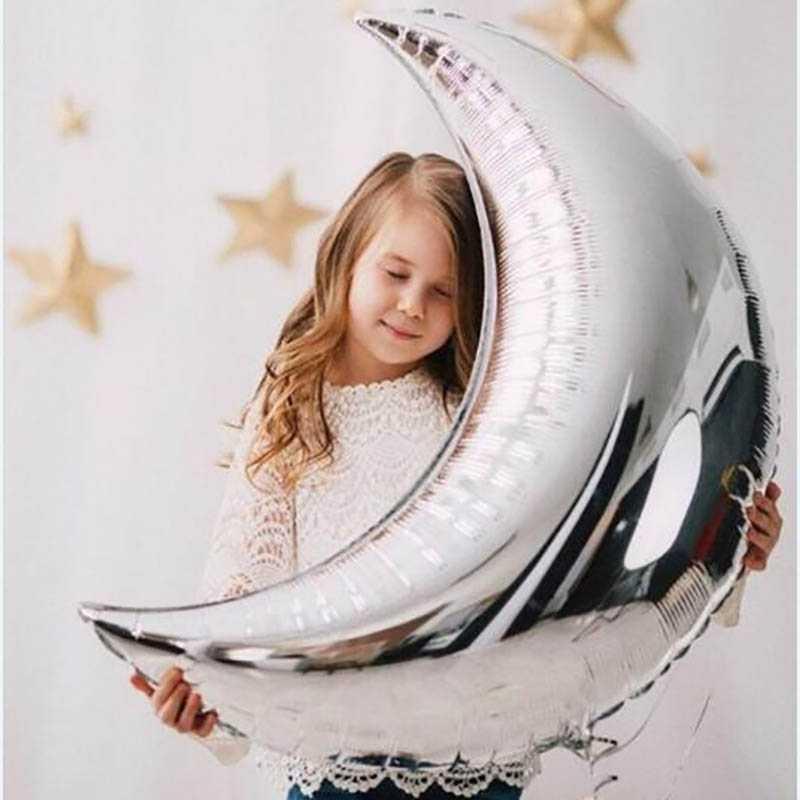 """18 """"& 36"""" grande Lua Crescente Lua Balão Da Folha de Alumínio Balões Decorações do Casamento Festival Fontes Do Partido Feliz Aniversário"""