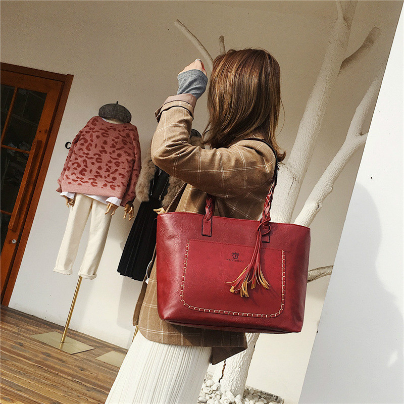 Vintage Women Bags Set Top-Handle Big Capacity Female Tassel Handbag Fashion Shoulder Bag Purse Ladies PU Leather Bag  alexa