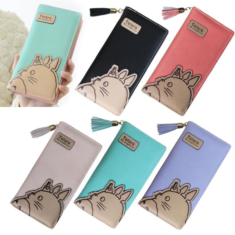 Women Girl Tassels Zipper Totoro Clutch Wallet Long Card Holder Purse Handbag New Hot casual weaving design card holder handbag hasp wallet for women