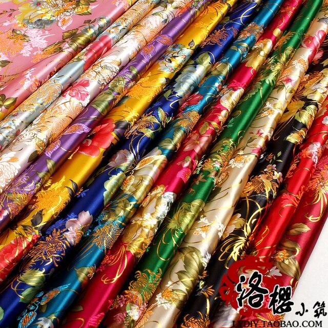 d271ec8ec Ancient Costume Chinese Han Clothing Dress Baby Clothes Kimono Fabrics COS  Silk Cloth Printed Peony Satin