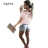 TQNFS Sexy Hollow Out T Shirt Women 2017 Fashion Short Sleeve Off The Shoulder Tops O
