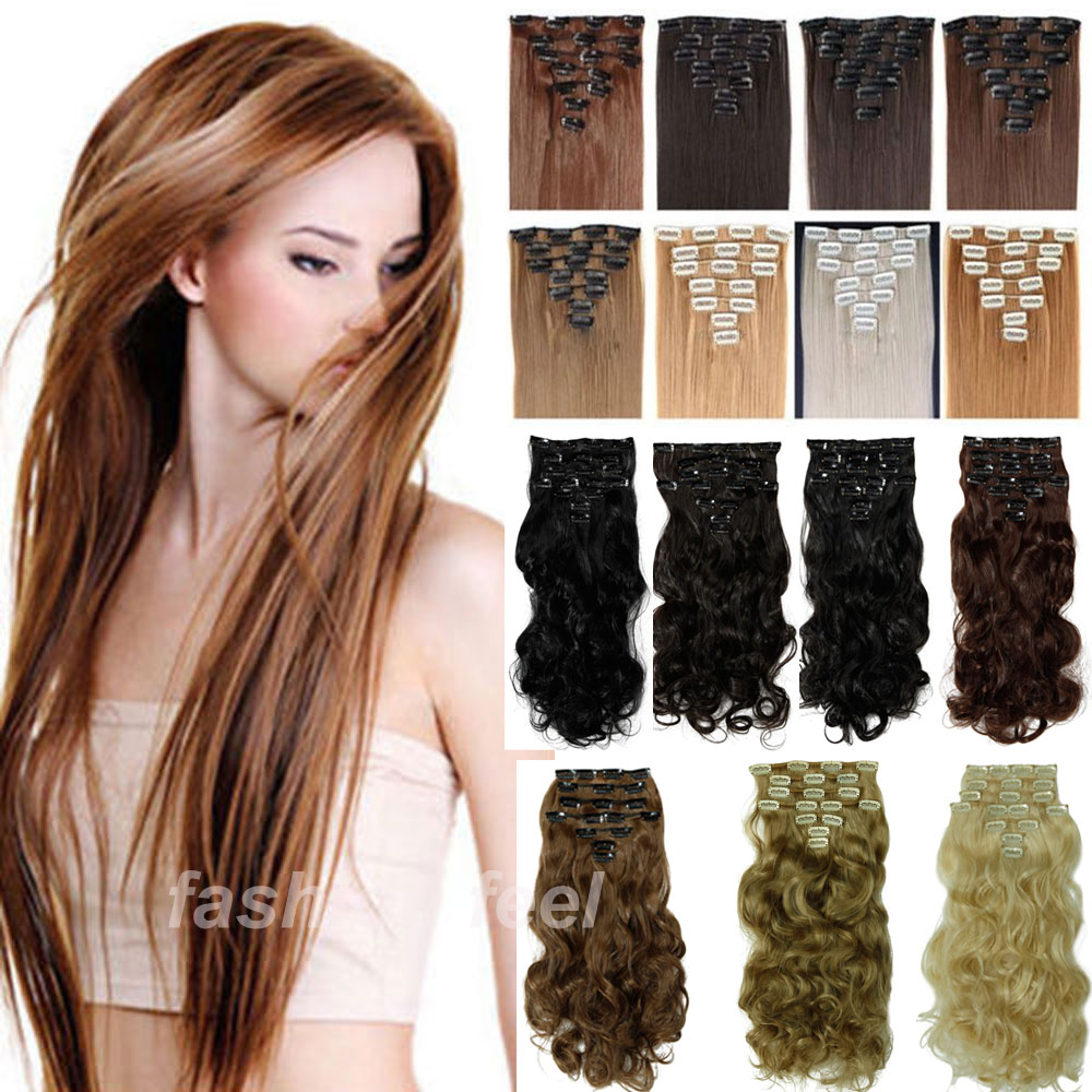 Maga thick 17 24 8pcs full head clip in hair extensions straight 100 real deluxe hair