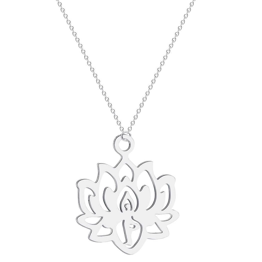 QIMING loto Yoga colgante collar de las mujeres de joyas de acero inoxidable el budismo lirio de agua indio Vintage Boho collares de mujer