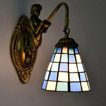 fashion tiffany Mediterranean  Mermaid mirror light fashion rustic wall lamp   bed lamps