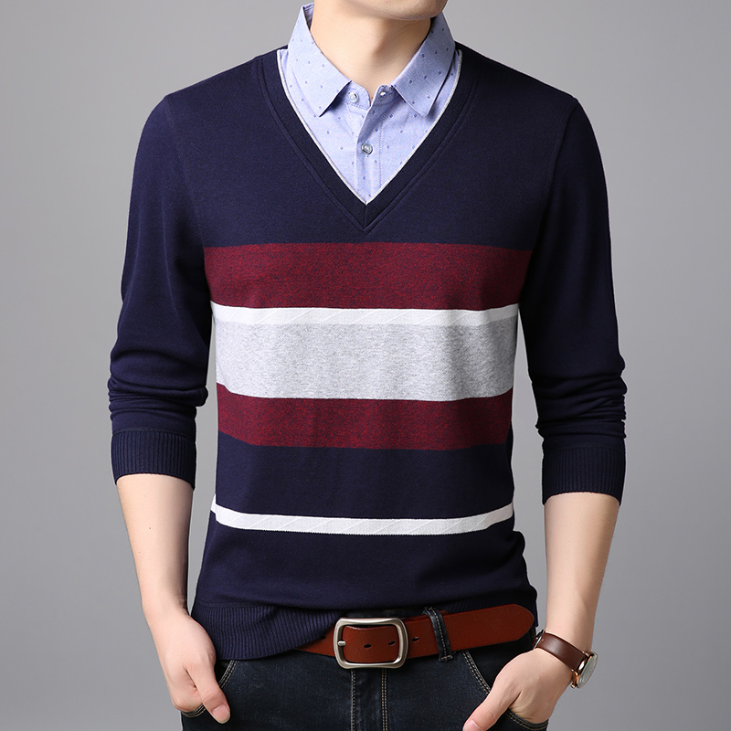 2019 Spring Fake Two Sweater Men's Fashion Shirt Collar Slim Pullover Men's Striped Sweater Men's Business Casual Sweater
