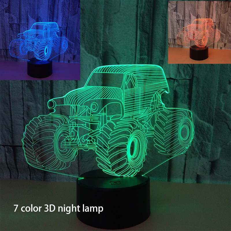 Aspiring 7 Colors Changing 3d Led Night Light Dynamic Farm Tractor Car 3d Visual Lamp Ambient Lights Gadget Xmas Birthday Gift Touch