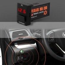 DC 12 В 2.4a Интерфейс автомобиль USB Зарядное устройство с аудио MP3 Разъем Батарея Напряжение Дисплей использовать для Toyota Corolla Auris camry Reiz RAV4