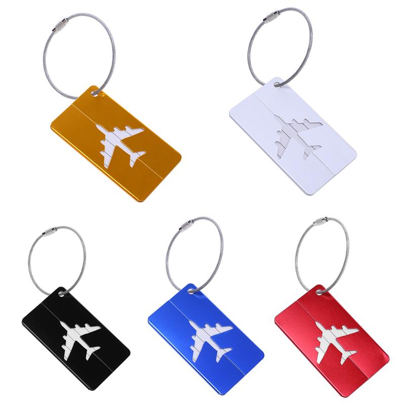 1PCS Mini Rectangle Aluminium Alloy Luggage Tags Travel Accessories Baggage Name Tags Suitcase Address Label Holder Multi Tools