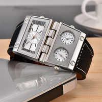 Oulm限定版男性ユニークな腕時計二つの異なる長方形大きなダイヤルクォーツ時計男性3つのタイムゾーンpu腕時計