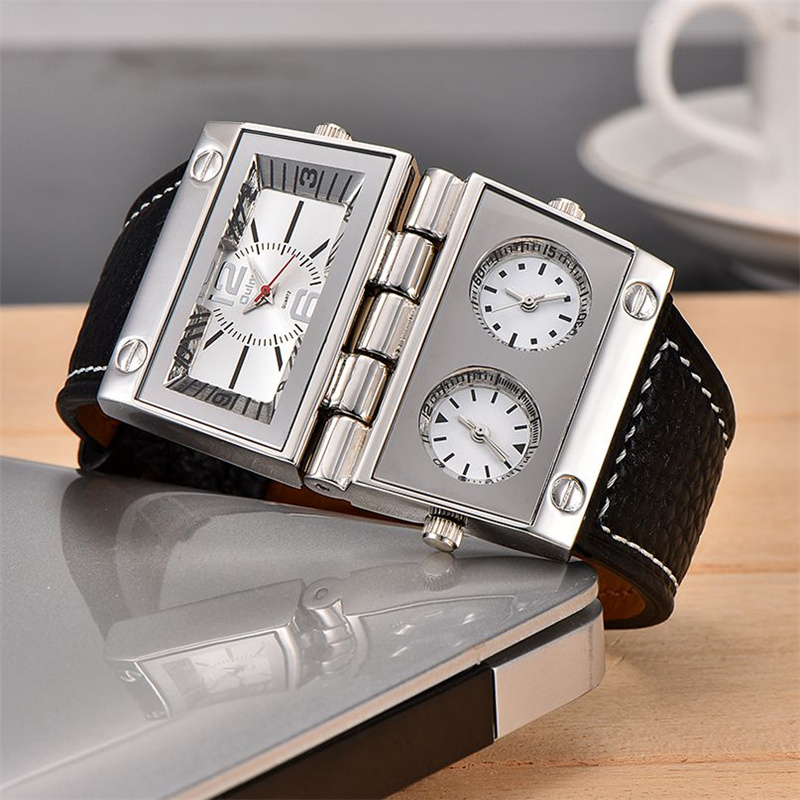 Oulm Limited Edition Men Unique Watches Two Different Rectangle Big Dials Quartz Clock Male Three Time Zone PU Wristwatch