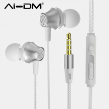 AIDM Wired Headset 3 5mm Stereo In Ear Earphone Handsfree Volume Control Mic For Cell Phone
