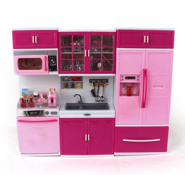 Us 34 82 19 Off Kids Large Children 27s Kitchen With Sound And Light Girls Pretend Cooking Toy Play Set Pink Simulation Cupboard Gift Toy Food In