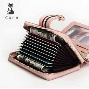 Image 4 - FOXER Marke Valentinstag Geschenk Frauen Luxus Kurze Brieftasche Kuh Leder Damen Geld Tasche Mode Weibliche Karte Halter ID fall
