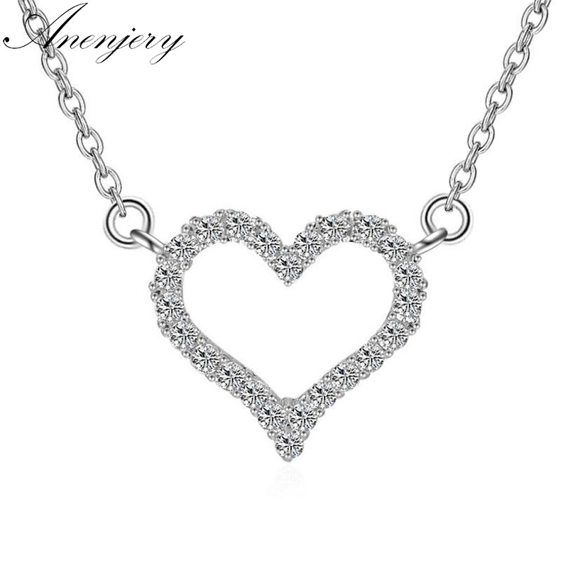 Anenjery 925 Sterling Silver Jewelry Shiny CZ Zirconia Love Heart Shape Pendant Necklace For Women Gift collares bijoux S-N57