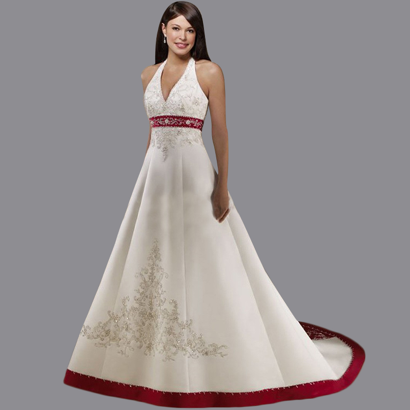 Red And White Ball Gown Wedding Dress: 2015 Vestidos De Novias Ball Gown Halter Neck Bride Dress