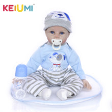 Lovely Boy Baby Doll Toy 22 inch Lifelike Reborn Baby Doll 55 cm Realistic Smile Newborn Dolls Fashion Children's Days Gifts(China)