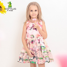 KAMIWA 2017 Fashion Butterfly Pattern Mesh Printed Teenage Girls Dresses Summer Style Children Clothing Beach Baby Kids Clothes