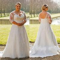 Country Style Plus Size Wedding Dress With Sleeves 2019 Vestidos De Novia Summer Out Door Applique Lace Wedding Gowns Handmade
