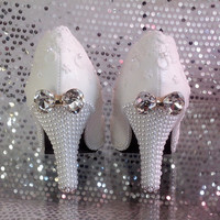 Shoes woman pump High Heels Lace White Wedding Shoes Pearl Shoes bow Bridal /bridesmaid Shoes 8cm heel crystal butterfly knot