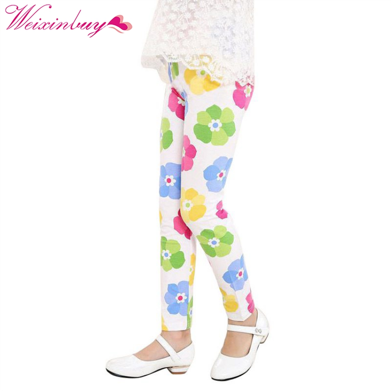 2017 brand Spring autumn Casual Vintage Flower printed Kids Legging  Girls Leggings Elastic Waist Children's Girl's Pants 2-14 Y
