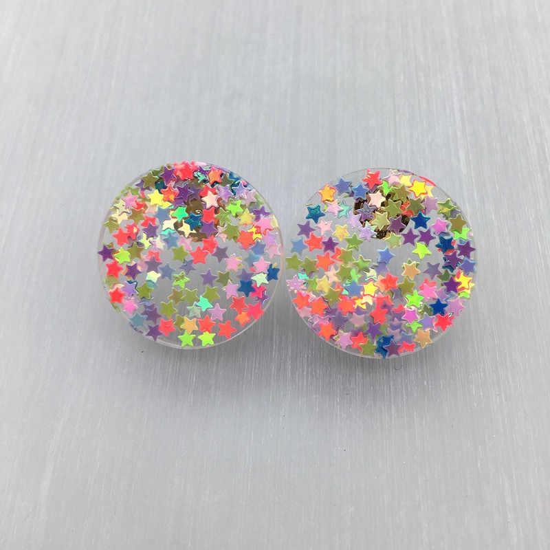 Glitter stud earrings blue round resin