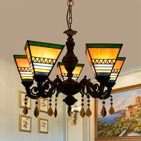 European style Tiffany coloured glass restaurant  bedroom Bar Club Cafe square crystal 5 head lighting