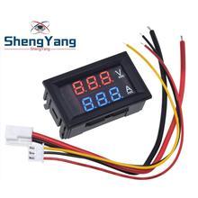 """DC 0 100V 10A Digital Voltmeter Ammeter Dual Display Voltage Detector Current Meter Panel Amp Volt Gauge 0.28"""" Red Blue LED"""