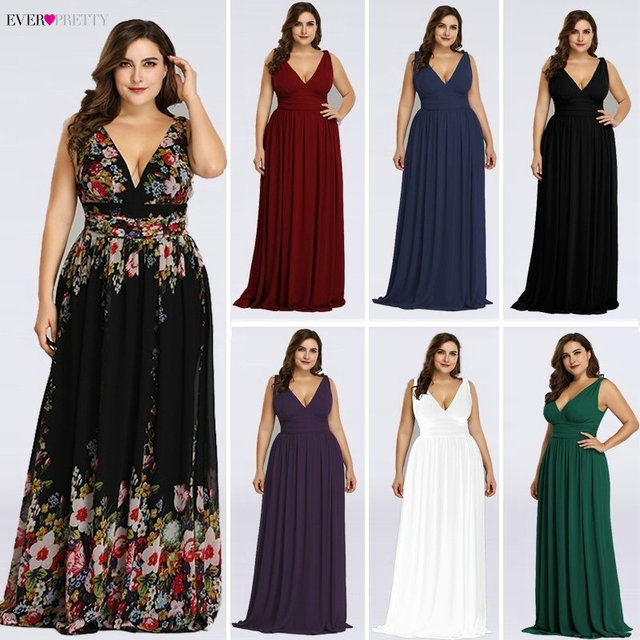 Plus Size Prom Dresses Long 2019 Ever Pretty Elegant Printed A-line V-neck Chiffon Sleeveless Party Dresses Robe De Soire 1