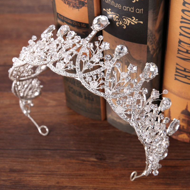 Hot Sale Luxury Crystal Bridal Crown Tiaras Silver Color Diadem Tiaras for Women Bride Wedding Hair Accessories GL-156 03 red gold bride wedding hair tiaras ancient chinese empress hat bride hair piece