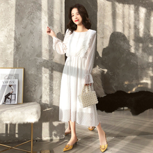 купить Ruffles Polka Dot Women Chiffon Dress Elastic Waist Flare Sleeve Female Long Vestidos Retro A-line Women Dress 2019 по цене 970.45 рублей