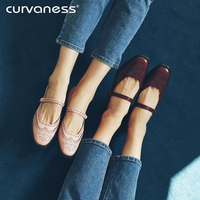 curvaness 2018 Autumn Womens Flats Shoes Fashion Hollow Out Real leather Woman Mary Jane Shoes Casual Slip On Women Brogue Shoes