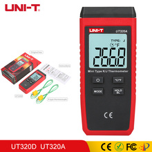 UNI-T Thermometer Thermocouple UT320D UT320A LCD Backlight Mini Contact Type Dual Channel K/J Temperature Meter Whit Data 6802ii k type digital thermometer thermocouple thermometer k type temperature meter dual channel