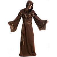 Robe Religious Godfather Wizard Costume Adult Men Wizard Priest Outfit Dark Sorcerer Robe Halloween Cosplay Costume A155815