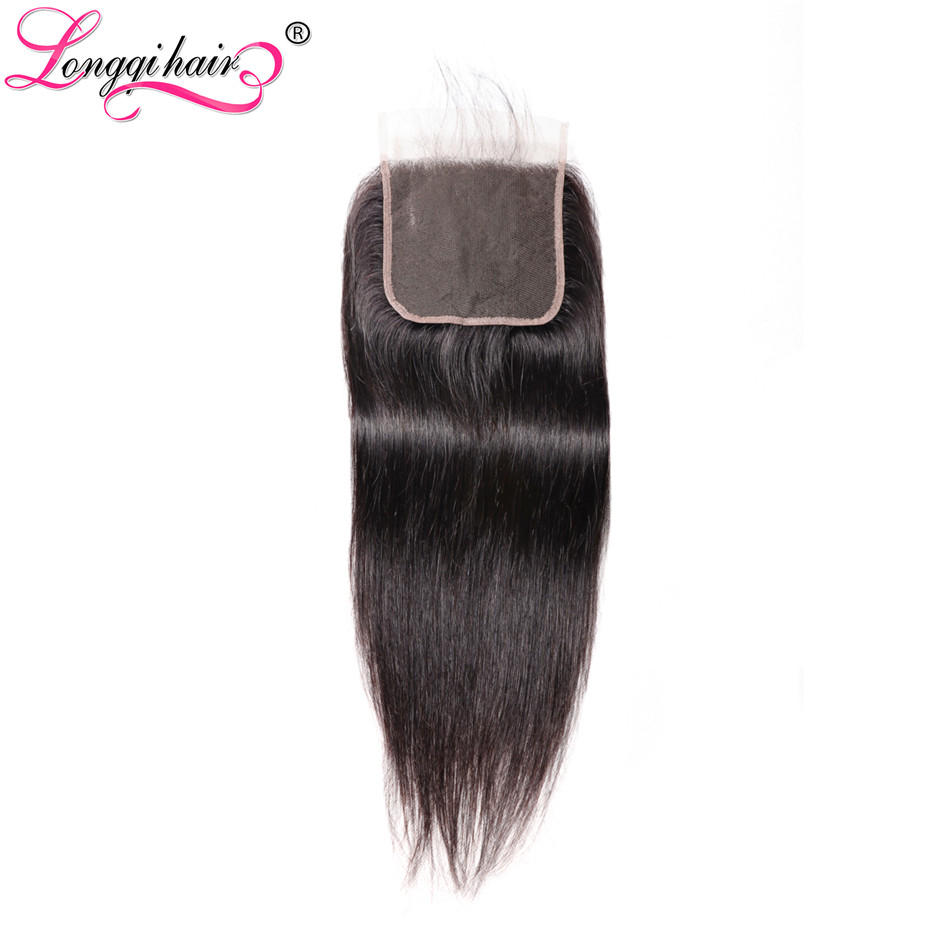 Longqi Hair 5x5 Straight Lace Closure Brazilian Remy Human Hair Lace Closure With Baby Hair Natural