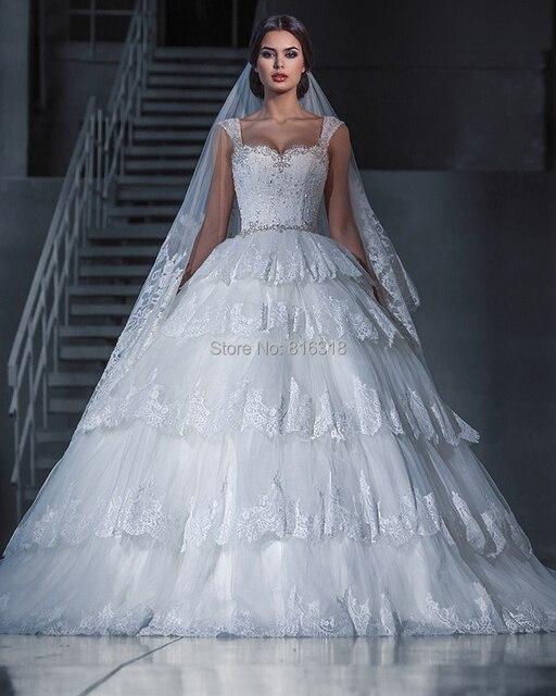 Vestido de Noiva Tiered Lace Ball Gown Wedding Dresses Cap Sleeve ...