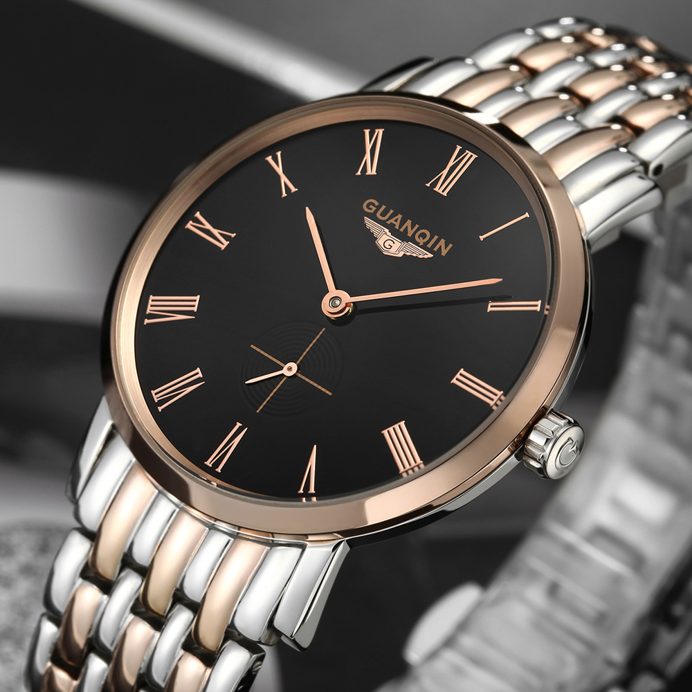 ФОТО Men Watches Top Brand Luxury GUANQIN Fashion Stainless Steel Strap Ultrathin Waterproof Automatic Self-Wind Relogio Masculino