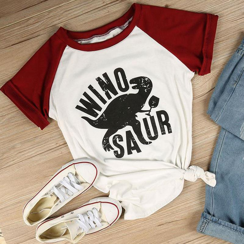 T-Shirts Women Short Sleeve Raglan Winosaur Dinosaur Print O-Neck Female Tops Summer Fashion Casual T Shirt Ladies Tops Tees