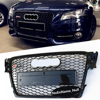 RS4 Styling A4 B8 Grill ABS Black Painted Front Honey Mesh Grille For Audi A4 S4