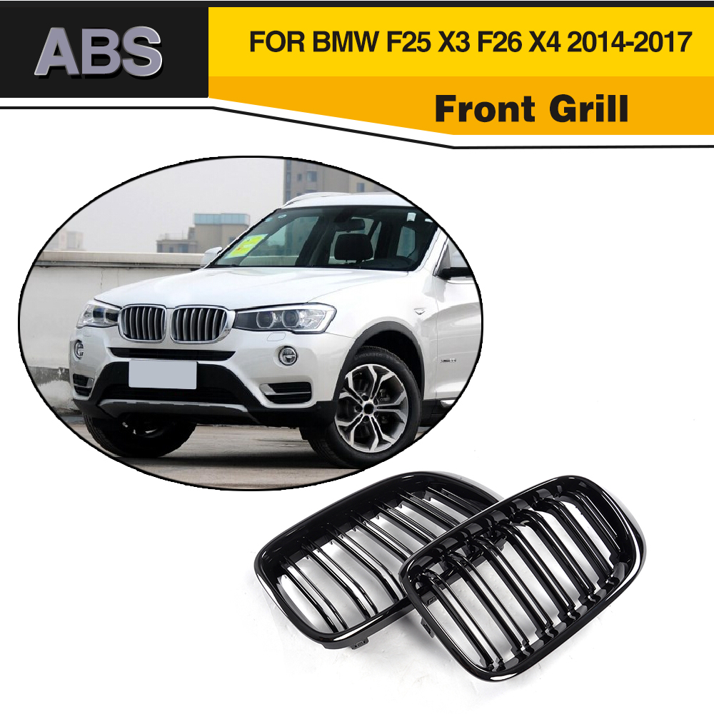 Car Styling ABS black Front Grill Grille for BMW F25 X3 F26 X4 2014-2017 car styling stainless steel interior trim air conditioning cd control panel decoration cover for bmw x3 f25 x4 f26 accessories