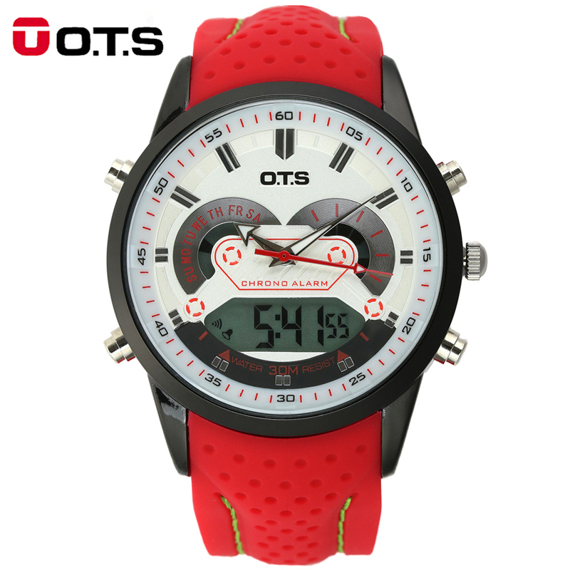 2016 Men's Quartz Digital Watch Men Sports Watches Relogio Masculino O.T.S <font><b>Shock</b></font> Relojes LED Military Waterproof Wristwatches